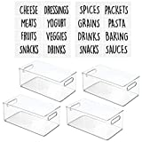 mDesign Deep Plastic Kitchen Storage Organizer Container Bin with Identification Labels & Handles for Pantry, Cabinets, Shelves, Refrigerator, Freezer - 14.5'' Long, 4 Pack - Clear