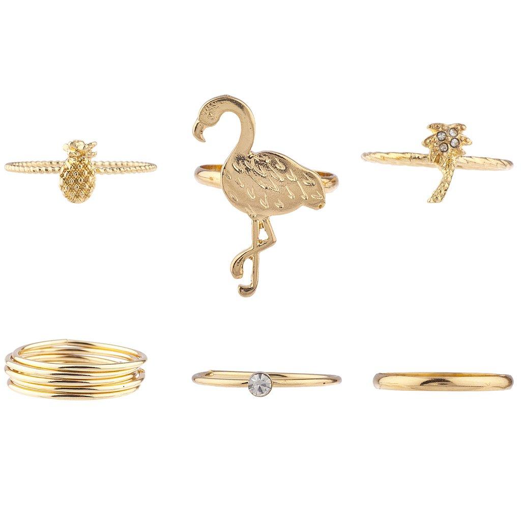 Lux Accessories oro cristallo fenicottero tropicale ananas palma anello set R249470-3-R269