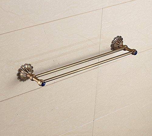 - MBYW Modern Minimalist high Load-Bearing Towel Rack Fashion Bathroom Towel Rail Antique Copper Flat Double Rod European Antique Copper Flat Double Rod with Sapphire Diamond Towel bar | Copper