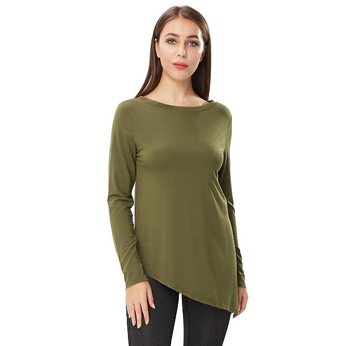 2b1f7d63 ENIDMIL Women's Long Sleeve Tunic Tops for Leggings - Cotton Side Split  Tunic T Shirt (