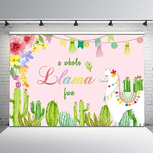 Mehofoto Pink Llama Party Backdrop Mexican Theme Llama Birthday Photography Backdrops 7x5ft Floral Cactus Photo Background for Baby Shower Party Decorations