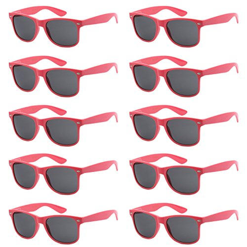 WHOLESALE UNISEX 80'S STYLE RETRO BULK LOT SUNGLASSES (Peach Coral, ()