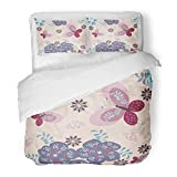 Emvency 3 Piece Duvet Cover Set Brushed Microfiber Fabric Child Floral and Funny Cats Patterns Butterfly Wall Baby Label Abstract Album Breathable Bedding Set with 2 Pillow Covers Twin Size