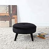 Divano Roma Furniture Classic Tufted Large Velvet Round Footrest/Footstool/Ottoman (Black)