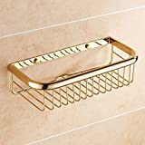 ZZHF yushizhiwujia Single Layer Full Copper Shelves Bathroom Solid Thicker Racks Wall-Mounted Toilet Storage Shelves Gold Color (Size : A)