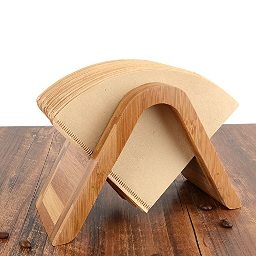 Bamboo Coffee Filter Holder Coffee Paper Storage Rack Coffee Filter Paper Container Stand Size 4 Filter Paper Holder (Type A)
