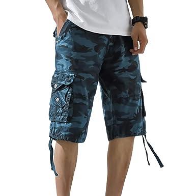 cf9cf587797d8 OEAK Homme Rétro Baggy Cargo Camo Shorts, Pantacourt Outdoor Bermudas  Casual Combat Shorts de Loisir