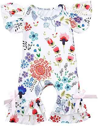 c7417f13c1ecf5 Fineser Baby Romper Infant Girls Floral Print Ruffles Jumpsuit Summer  Casual Outfit Clothes