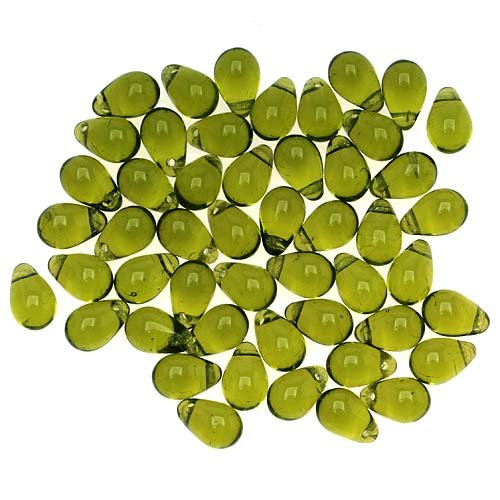 Jablonex 50-Piece Teardrop Shaped Czech Glass Beads, 9mm, Olivine Green