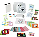 Fujifilm Instax Mini 9 Film Camera SMOKEY WHITE Instant Camera + 20 Instant Film Shots, Instax Case + 14 PC Instax Accessories Bundle, Fuji Instax Mini 9 Kit Gift Box, Albums, Lenses, Magnet Frames