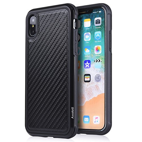 iPhone X Case, Axolotl Defence Cover [TPU + Metal Frame] [Shockproof Drop Protection] [Support Wireless Charging] Classical Business Stylish Case for Apple iPhone X- Black Carbon Fiber
