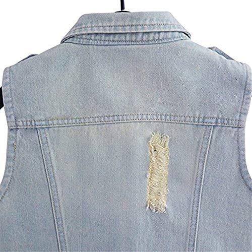 Cappotto Jeans Giacca Gilet Vintage Hellblau Frontali Smanicato Primaverile Blu Strappato Outerwear Fit Elegante Donna Petto Autunno Tasche Battercake Sul Donne Casuale Slim Giaccone F41nY5q5w
