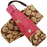 Coach Signature Mini Umbrella Khaki Magenta Pink