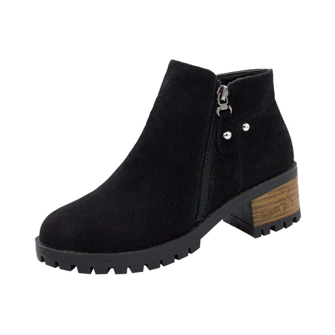 Anxinke Women's Stylish Round Toe Side Zipper Ankle Boots (6.5 B(M) US, Black)