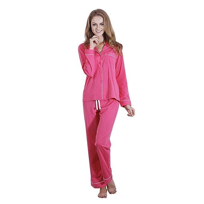 00a66c8662 Camisa De Pijamas para Mujer Pantalones De Manga Larga Conjunto De Pijamas  Cómoda Sudadera Casual