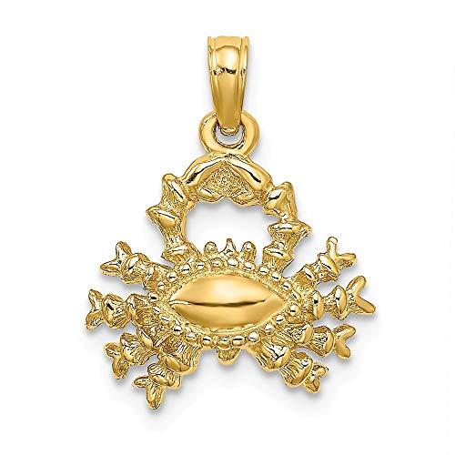 14k Yellow Gold 3-D Cancer Zodiac Charm