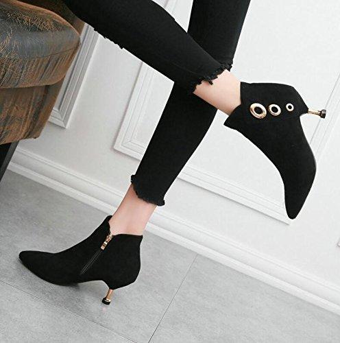 KHSKX-Con La Punta De Los Finos De Color Negro Mate Botas De Invierno Nuevo Embellecedor Metálico Zapatos De Mujer Con Un Simple Gato Con Botas Cortas Con Botas 36. 36