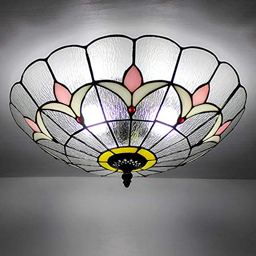 Tiffany Style Ceiling Light Flush Mount Stained Glass Lamp S
