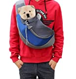 Glasshe Small Dog Cat Pet Sling Carrier Bag Safe Comfortable Hands-Free Single Shoulder Travel Carry Tote Hanbag For Pets Below 6lb (Small, Blue)