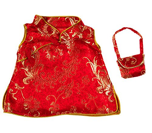 """Chinese Cheongsam Outfit Teddy Bear Clothes Fits Most 14"""" - 18"""" Build-a-bear and Make Your Own Stuffed Animals"""