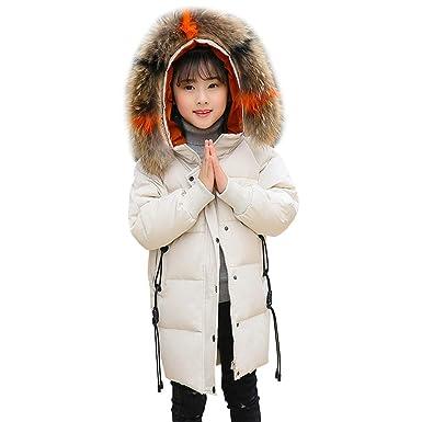 LPATTERN Fille Manteau d hiver Doudoune Duvet Mi-Longue Epaisse Enfant  Veste Neige avec c1672cedf1b