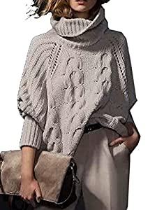 Choies Women's Acrylic Loose High Neck Chunky Cable Long Sleeve Sweater