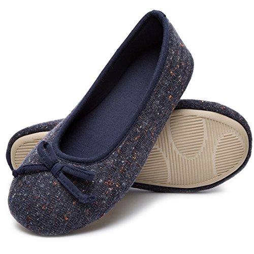 Tricot Femme Ballerine De Pantoufles Bleu Dames Hometop Couleur Chaussures Mémoire Confortables TU7ZqWn