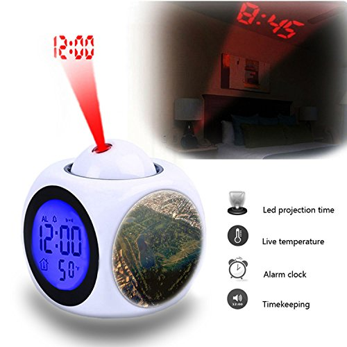 Projection Alarm Clock Wake Up Bedroom with Data and Temperature Display Talking Function, LED Wall/Ceiling Projection,Customize the pattern-014.Aerial view of Hyde Park