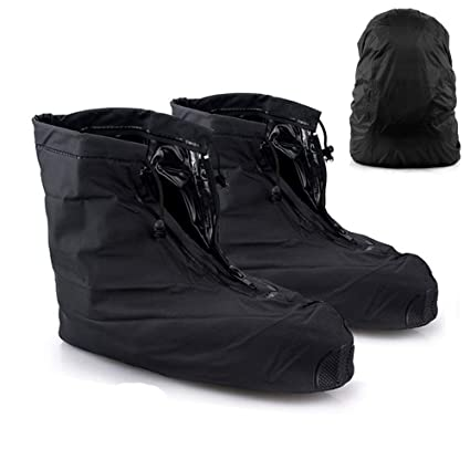 2e6ba15b6dba1 Waterproof Shoe Covers with [Backpack Cover], AYAMAYA Reusable Anti-Slip  Zippered Rainproof Shoes Boot Overshoes with Draw Cord to Fasten (Black)