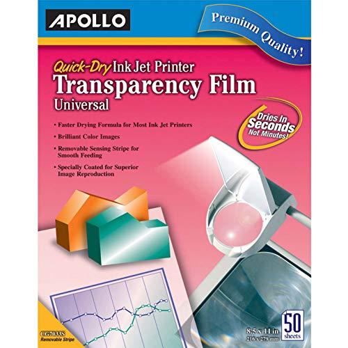 Quick Dry Inkjet Printer Transparency - Apollo Quick-Dry Color Inkjet Transparency Film, Letter, Clear, 50/Box