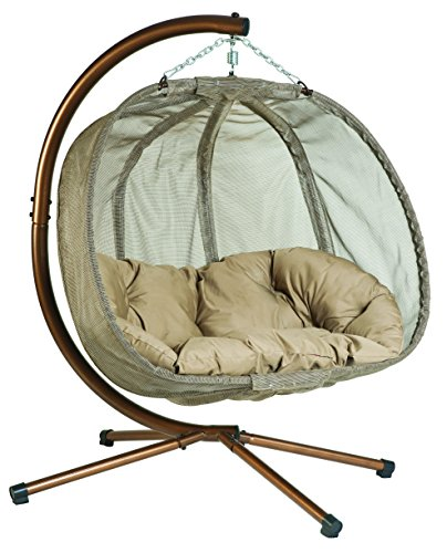 Flower House FHPC100-BRK Hanging Pumpkin Loveseat Chair with Stand, Bark