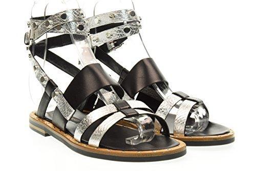 Price comparison product image JANET & JANET Woman Flat Sandal 39005 AKIN/Bamako Silver/Black Size 37 Silver/Black