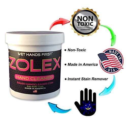 Zolex Water Activated Hand Cleaner and Grease Remover - Stain Remover for Mechanics| Non-Toxic, Petroleum-Free | EZ Carry 3/4 lb Jar (Pack of 8) by Zolex (Image #2)