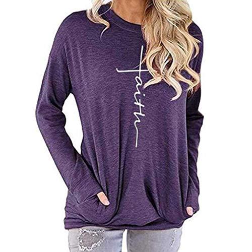 Ulanda Women's Casual Long Sleeve Round Neck Faith Print Pullover Sweatshirt T Shirts Tops Blouse with Pocket (X-Large, Purple)