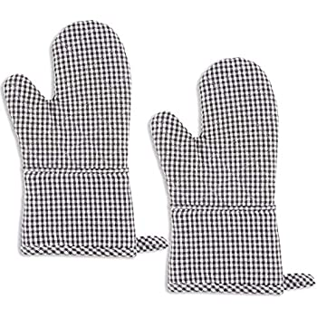 KAF Home Christopher Kimball's Milk Street Kitchen Gingham Terry Lined Oven Mitt Set of 2 (Raven)