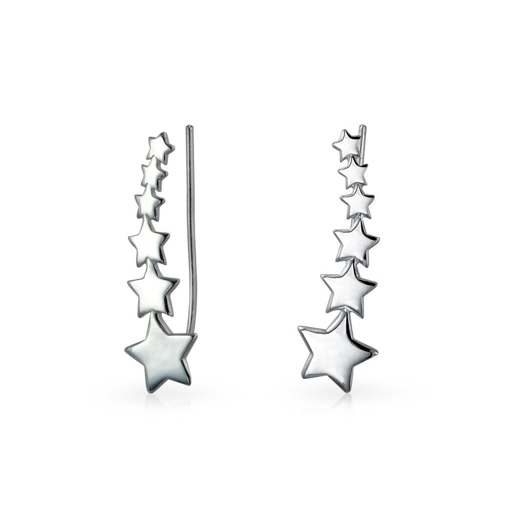 Bling Jewelry .925 Sterling Silver Modern Shooting Stars Ear Pins Crawlers
