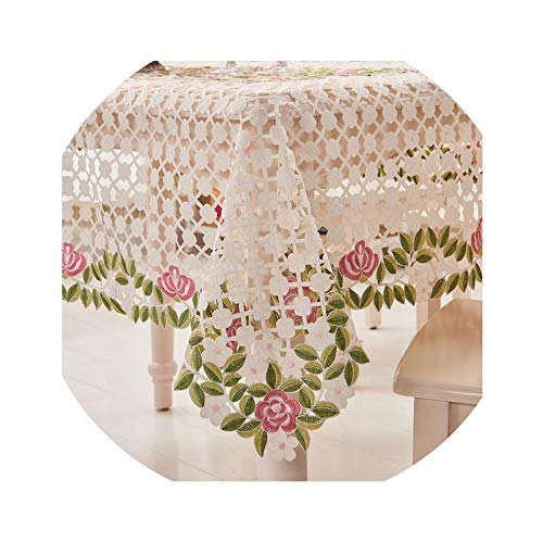 ACOMY Embroidery Wedding Table Cloth Crochet Round & Rectangular Table Cloth Embroidery Tablecloth Christmas Dinning Table Cover,Green Color,85X85CM