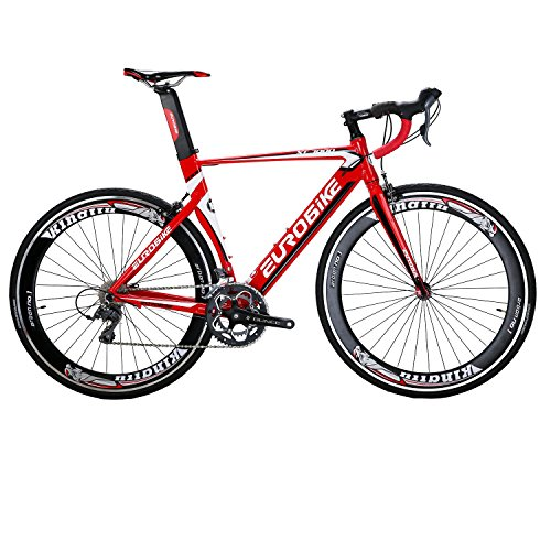 Triathlon Racing Bike - Eurobike EURXC7000 Road Bike 54CM Light Aluminum Frame 16 Speed 700C Road Bicycle Red