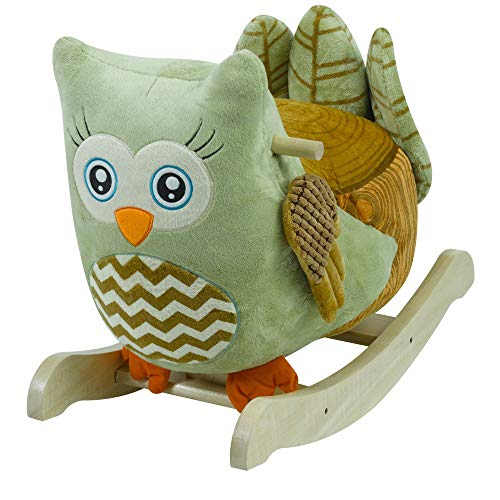 Furniture Rockabye Baby (Owliver Green Owl Rocker | Horse Plush Butterfly Baby Toy with Wooden Rocking Chiar Horse/Kid Rocking Toy/Baby Rocking Horse/Rocker/Animal Ride)