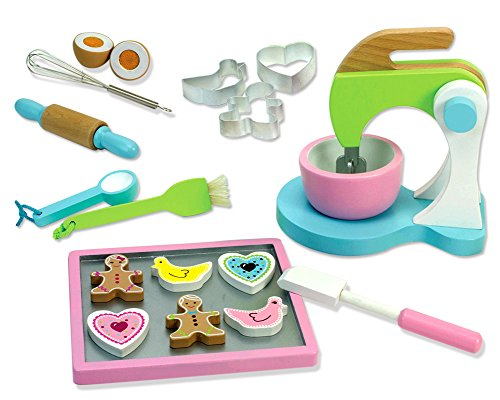 Childrens Wooden Play & Pretend Food Set, Cookie Baking Set with Cookies, Tray, Bowl, Mixer & More! Wood Play Food Cookie Baking Set