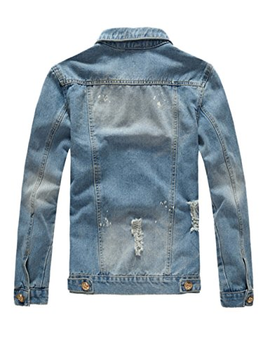 3f446821fff4 Jual DSDZ Mens Classic Ripped Motorcycle Denim Jacket with Hole ...