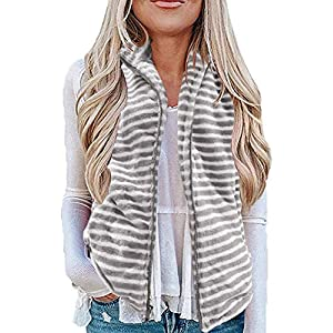 MEROKEETY Women's Casual Sherpa Fleece Lightweight Fall Warm Zipper Vest with Pockets