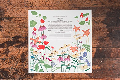 Butterfly Garden Ketubah | Jewish/interfaith/Quaker Wedding Certificate | Hand-Painted, Giclée Print by Tallulah Ketubahs