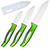 "Ceramic Knife Series Professional Chef's Knife Set 5"" 4"" 3"" Slicing Utility Paring Fruit home Cooking Tools(Green handle) Review"