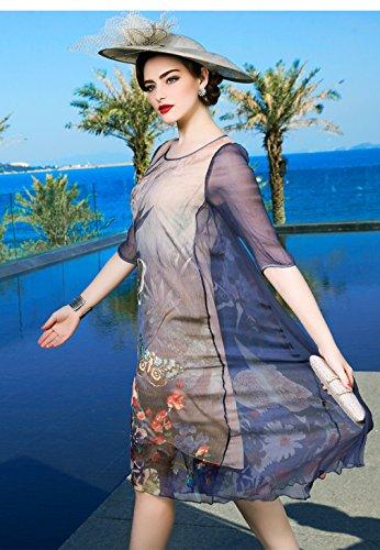 Women`s Cotylédons Robes Imprimées En Vrac Soie Casual Robe D'une Ligne