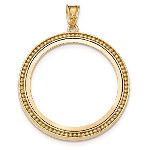 14K Yellow Gold Beaded Polished Prong Set Bezel Coin Holder for 1 oz American Eagle