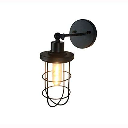 Phenomenal Industrial Wall Sconce Rustic Loft Antique Wall Lights Wire Cage Wiring Digital Resources Bioskbiperorg
