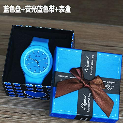 Unique Women Gift Watch Women Girls Students Luminous Waterproof Candy Colored Jelly Table Fashion Lovers Quartz Watch high School Students (+ + Phosphor Plate Blue Ribbon Box