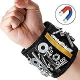 MYCARBON Bracelet magnétique avec 10 aimants puissants forts pour les vis de maintien, clous, trépans de forage, 2 sacs de rangement invisibles, Pratiquement être porté d'une main