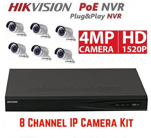 Hikvision DS-7608NI-E2/8P 8CH 8 POE NVR & 6pcs DS-2CD2042WD-I 4.0mm 4MP POE Bullet Camera Kit